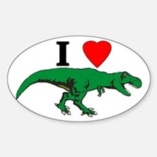 T Rex Green Sticker (Oval)