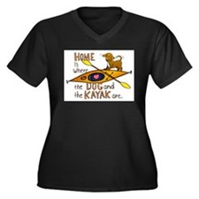 Cute Kayak dog Women's Plus Size V-Neck Dark T-Shirt