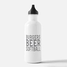 Burgers Beer Softball Water Bottle