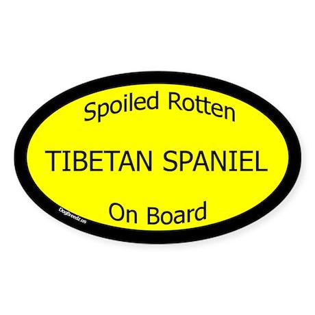 Spoiled Tibetan Spaniel On Board Oval Sticker