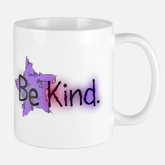 Be Kind with Colorful Text and Purple Star Mugs