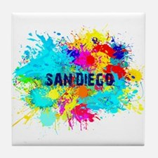 SAN DIEGO CALIFORNIA BURST Tile Coaster