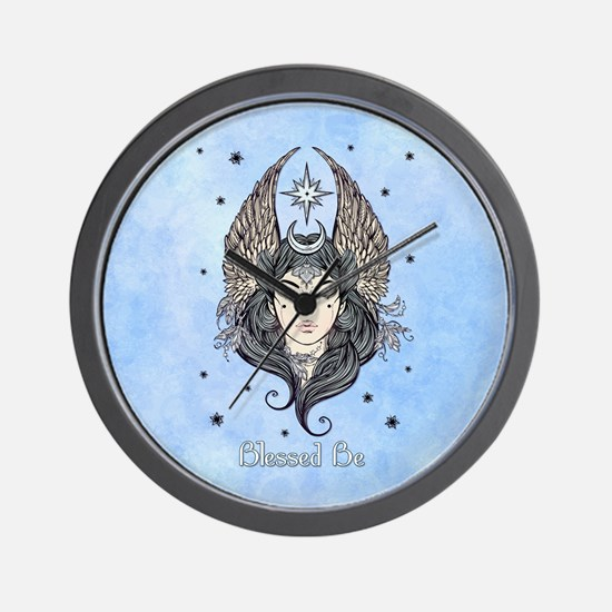 Moon Goddess Blessed Be and Background Wall Clock
