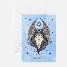 Moon Goddess Blessed Be and Backgro Greeting Cards