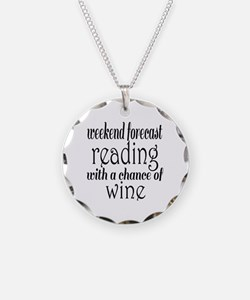 Reading and Wine Necklace Circle Charm