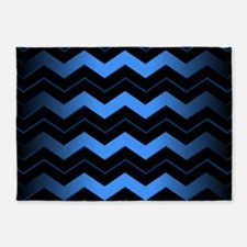 Black and Blue Chevron 5'x7'Area Rug