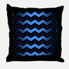 Black and Blue Chevron Throw Pillow