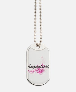 Acupuncturist Artistic Job Design with Fl Dog Tags