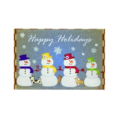 Snowman Family Rectangle Magnet (10 pack)