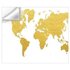Gold World Map Wall Decal