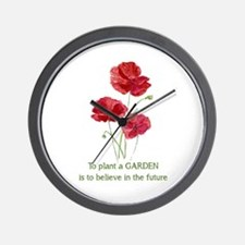 Red Poppy Plant A Garden Quote Wall Clock