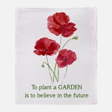 Red Poppy Plant A Garden Quote Throw Blanket