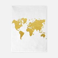 Gold World Map Twin Duvet
