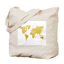 Gold World Map Tote Bag