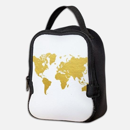 Gold World Map Neoprene Lunch Bag