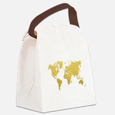 Gold World Map Canvas Lunch Bag