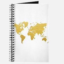 Gold World Map Journal