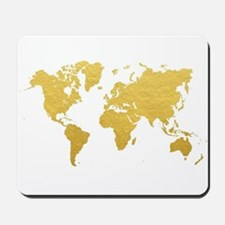 Gold World Map Mousepad