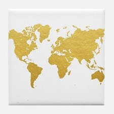 Gold World Map Tile Coaster