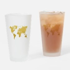 Gold World Map Drinking Glass