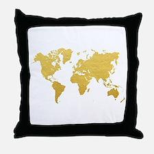 Gold World Map Throw Pillow