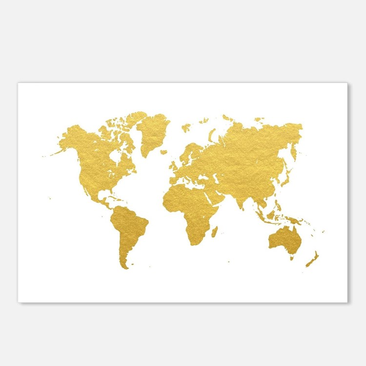 Gold World Map Postcards (Package of 8)