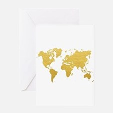 Gold World Map Greeting Cards