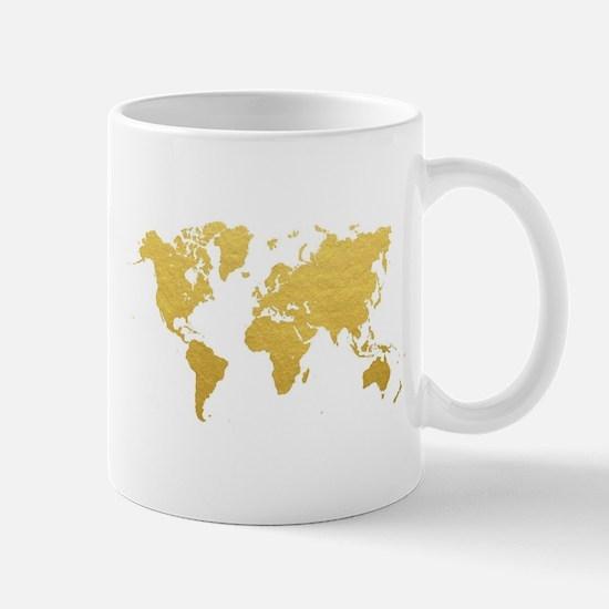 Gold World Map Mugs