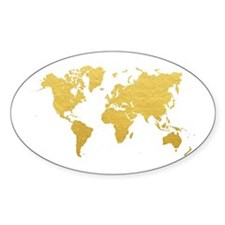 Gold World Map Decal