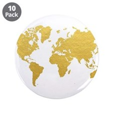 "Gold World Map 3.5"" Button (10 pack)"