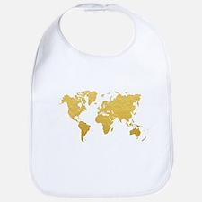 Gold World Map Bib