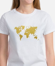Gold World Map T-Shirt
