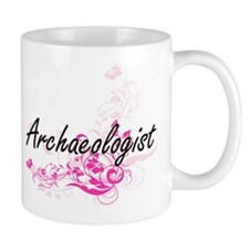 Archaeologist Artistic Job Design with Flower Mugs