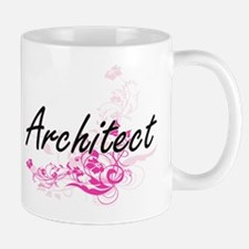 Architect Artistic Job Design with Flowers Mugs