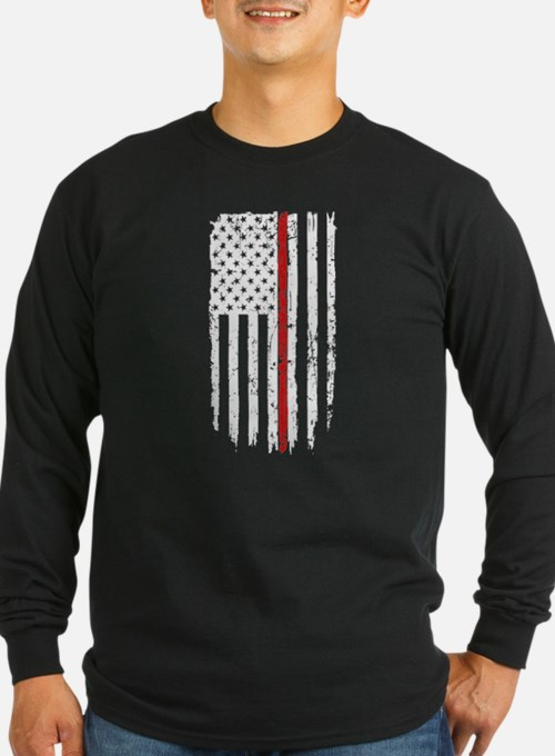Thin Red Line Flag Long Sleeve T-Shirt