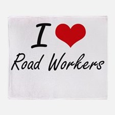 I Love Road Workers Throw Blanket