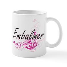Embalmer Artistic Job Design with Flowers Mugs