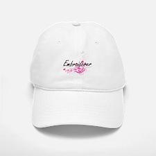 Embroiderer Artistic Job Design with Flowers Baseball Baseball Cap