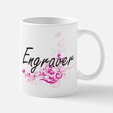 Engraver Artistic Job Design with Flowers Mugs