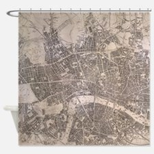Vintage Map of London England (1845 Shower Curtain