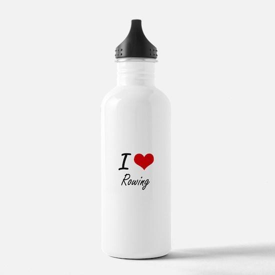 I Love Rowing Water Bottle