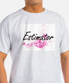 Estimator Artistic Job Design with Flowers T-Shirt