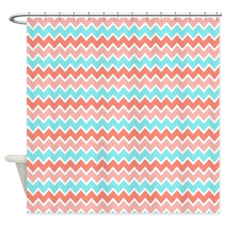 Coral Pink Turquoise Blue Ombre Che Shower Curtain By