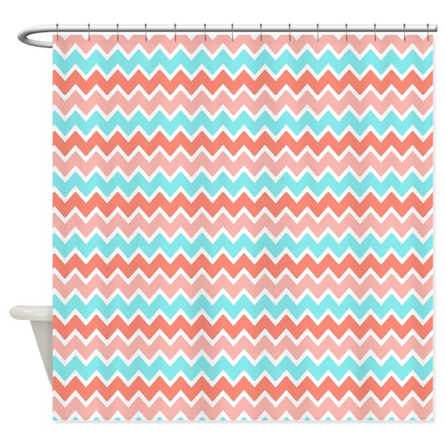 Coral Pink Turquoise Blue Ombre Che Shower Curtain By Listing Store 125731732