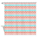 Turquoise and coral Shower Curtains