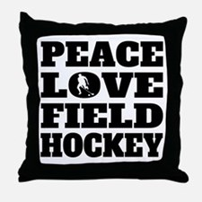 Peace Love Field Hockey Throw Pillow
