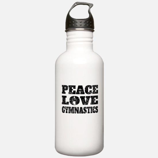 Peace Love Gymnastics (Distressed) Water Bottle