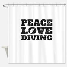 Peace Love Diving (Distressed) Shower Curtain