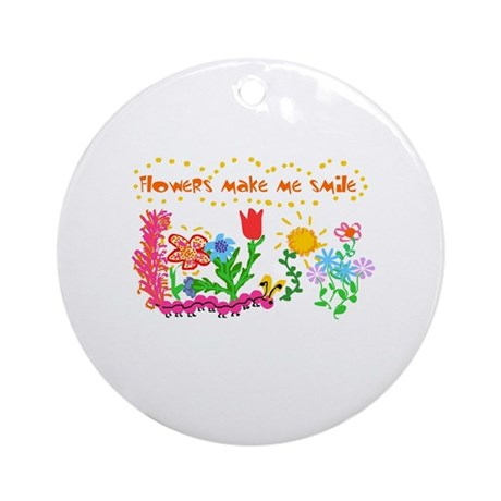 Flowers Make Me Smile Ornament (Round)