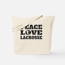 Peace Love Lacrosse (Distressed) Tote Bag